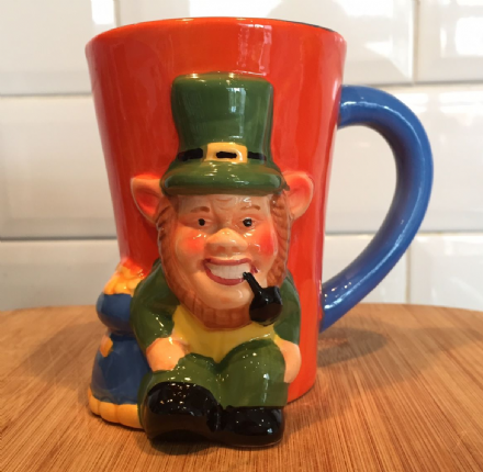 Irish Green Leprechaun ~ Large Colourful Hand Painted 3D Mug
